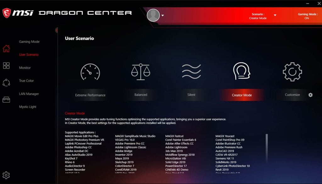 msi dragon center screenshot