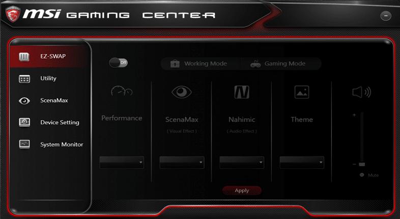 msi gaming center screenshot